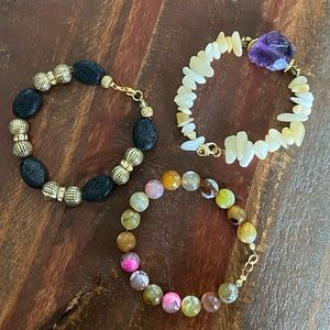 Jewelry - Set of Three Natural Stone and Accent Bracelets